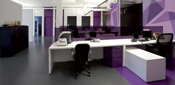 Purple is a positive colour in office design.