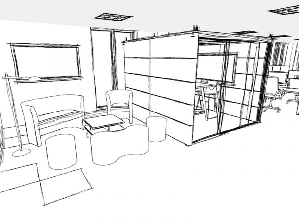 A first rendering of a VR Office Design Style